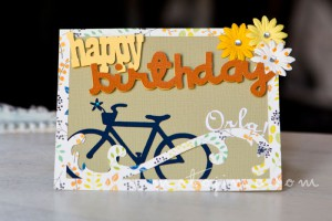 Birthday card with bicycle