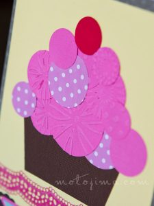 handmade birthday card with a cupcake