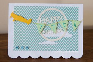 77th birthday card with plane