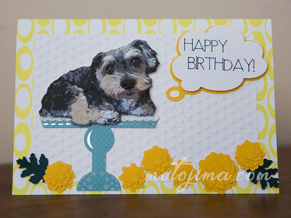 handmade birthday card with a dog
